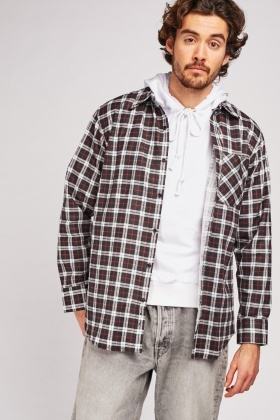 Single Pocket Front Check Shirt