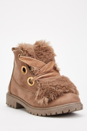 Fur Insert Lace Up Boots