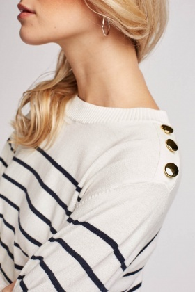 Button Trim Striped Knit Sweater
