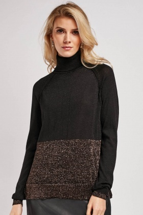 Roll Neck Lurex Contrast Jumper