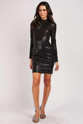 Shiny Mini Plisse Dress