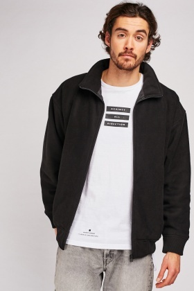 Zip Up Black Poly-Fleece Jacket