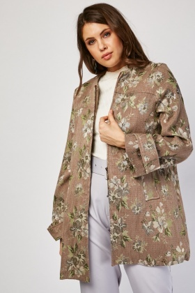 Textured Floral Zip Up Jacket