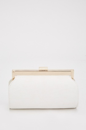 Textured Chain Strap Tube Clutch Bag