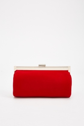 Velveteen Tube Clutch Bag