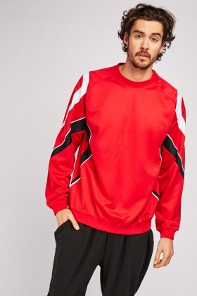 Red Colour Block Sports Sweatshirt