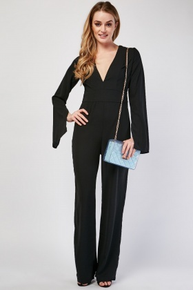 V-Neck Plunge Black Jumpsuit