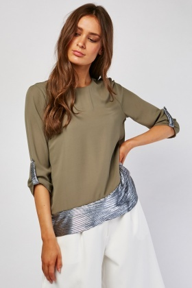 Pleated Metallic Contrast Blouse