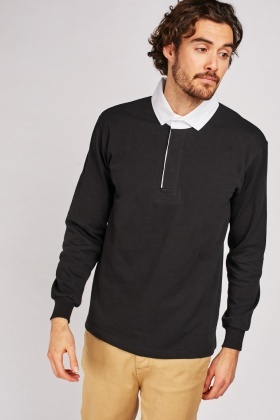 Contrasted Collar Polo Top