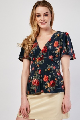 Floral Printed Velveteen Blouse
