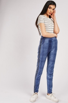 Grainy Leggings With Lurex Side