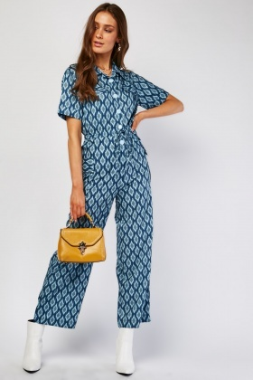 Illusion Printed Wide Leg Jumpsuit
