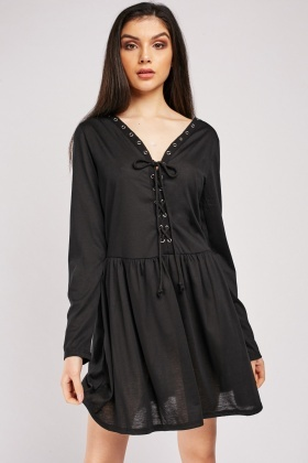 Lace Up Eyelet Frilly Tunic Dress