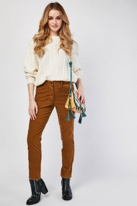 Mid Rise Camel Cord Trousers