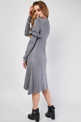 Ruffle Panel Midi Dress