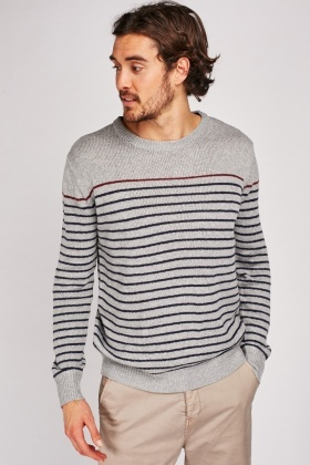 Striped Herringbone Knit Sweater