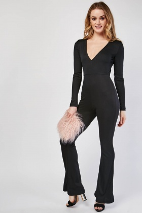 V-Neck Rib Jumpsuit