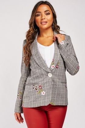 Embroidered Flower Glen-Check Blazer