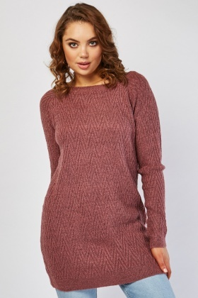 Herringbone Pattern Long Line Jumper