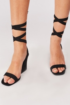Slanted Block Heel Suedette Sandals