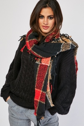 Checkered Fringed Long Scarf