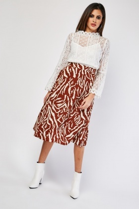 Jaggered Stripe Midi Skirt