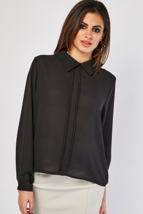 Pleated Centre Front Chiffon Blouse
