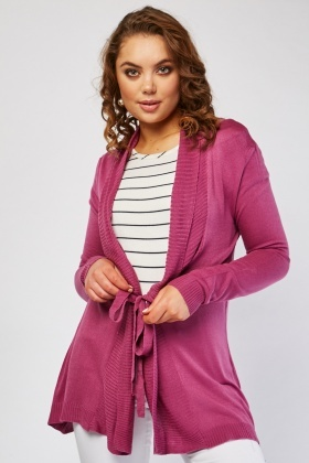 Tie Up Eyelet Trim Knit Cardigan