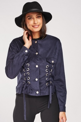 Eyelet Lace Up Suedette Jacket