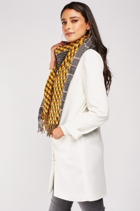 Geo Plaid Patterned Scarf
