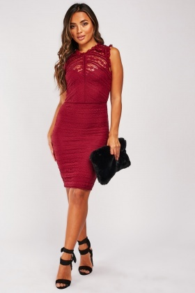 Sleeveless Lace Bodycon Dress