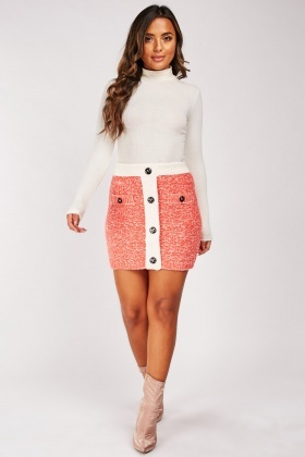 Two-Tone Knitted Mini Skirt