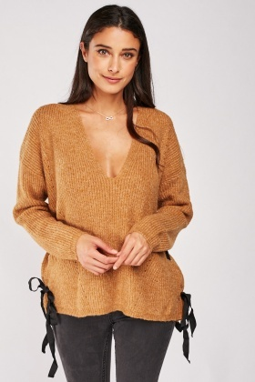 Eyelet Lace Up Side Chunky Jumper