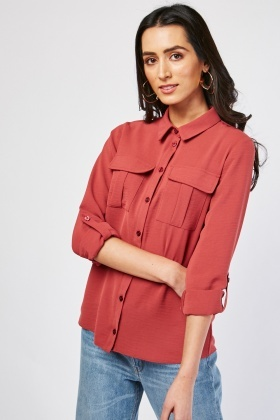 Flap Pocket Front Azalea Shirt