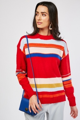 Funnel Neck Candy Stripe Sweater