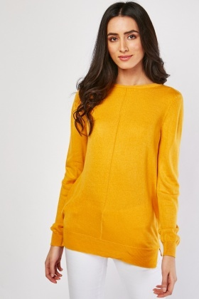 Long Sleeve Plain Knit Sweater