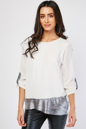 Metallic Pleated Contrast Blouse