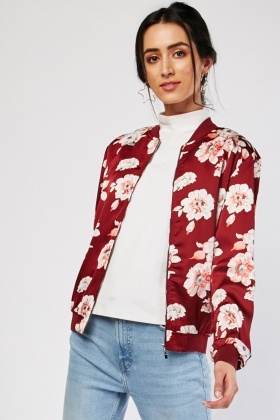 Rose Print Light Weight Bomber Jacket