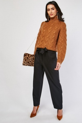Tie Up Waist Wide Leg Trousers