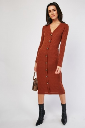 Tortoise Shell Button Ribbed Dress