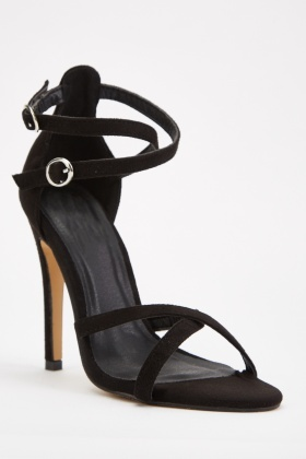 Barely There Suedette Heeled Sandals