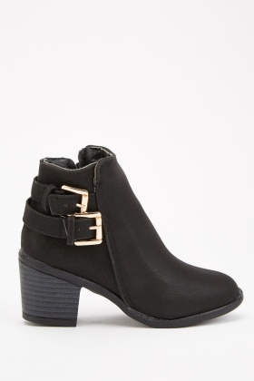 Kids Buckled Trim Ankle Boots