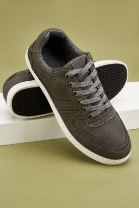 Lace Up Top-Stitched Mens Sneakers