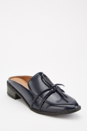 Navy Faux Leather Mules