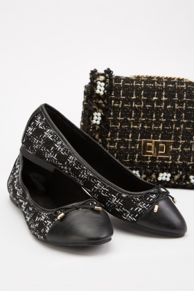 Slip-On Tweed Ballet Pumps