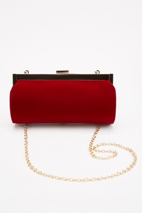 Suedette Tube Clutch Bag