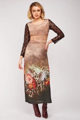 Lace Sleeve Printed Maxi Dress