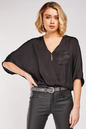 Single Pocket Front Silky Blouse