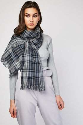 Checkered Distressed Scarf