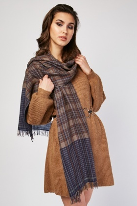 Plaid Raw Edge Scarf